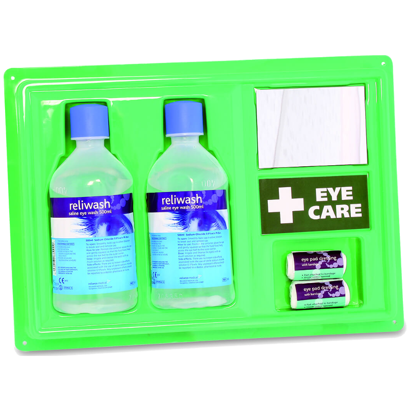 eye wash station with mirror