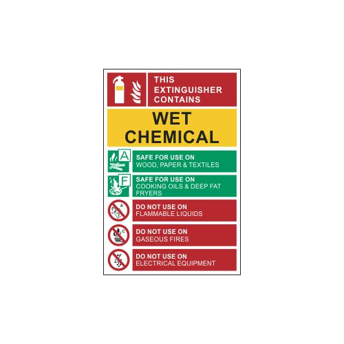 wet chemical extinguisher sign